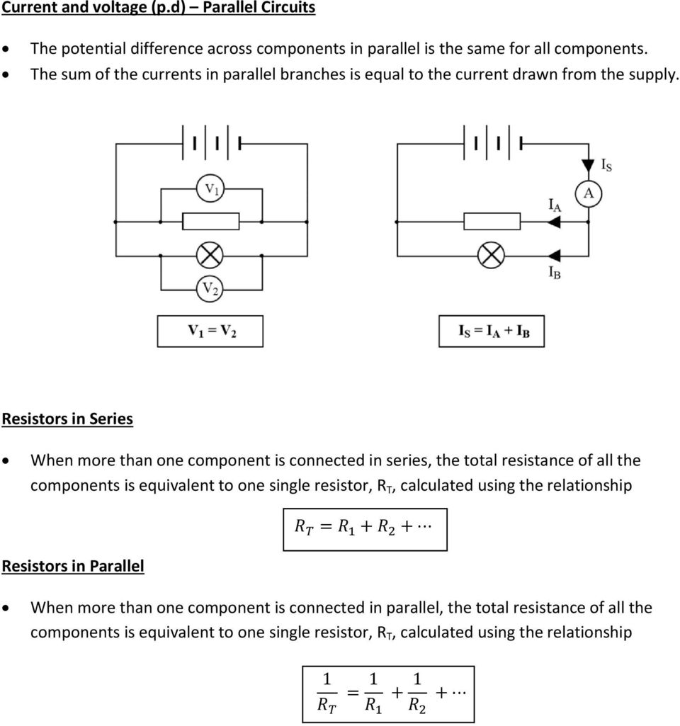 Series And Parallel Circuits Pdf Resistance Resistors In When More Than One Component Is Connected The Total