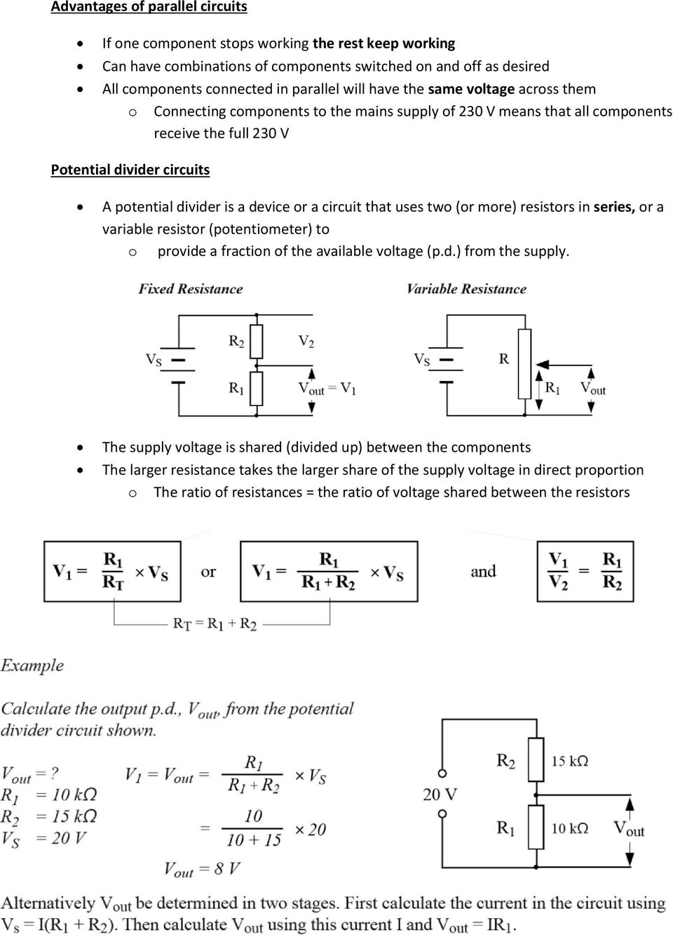 Series And Parallel Circuits Pdf Kirchhoff39s Voltage Law Kvl Divider Laws Circuit That Uses Two Or More Resistors In A Variable Resistor