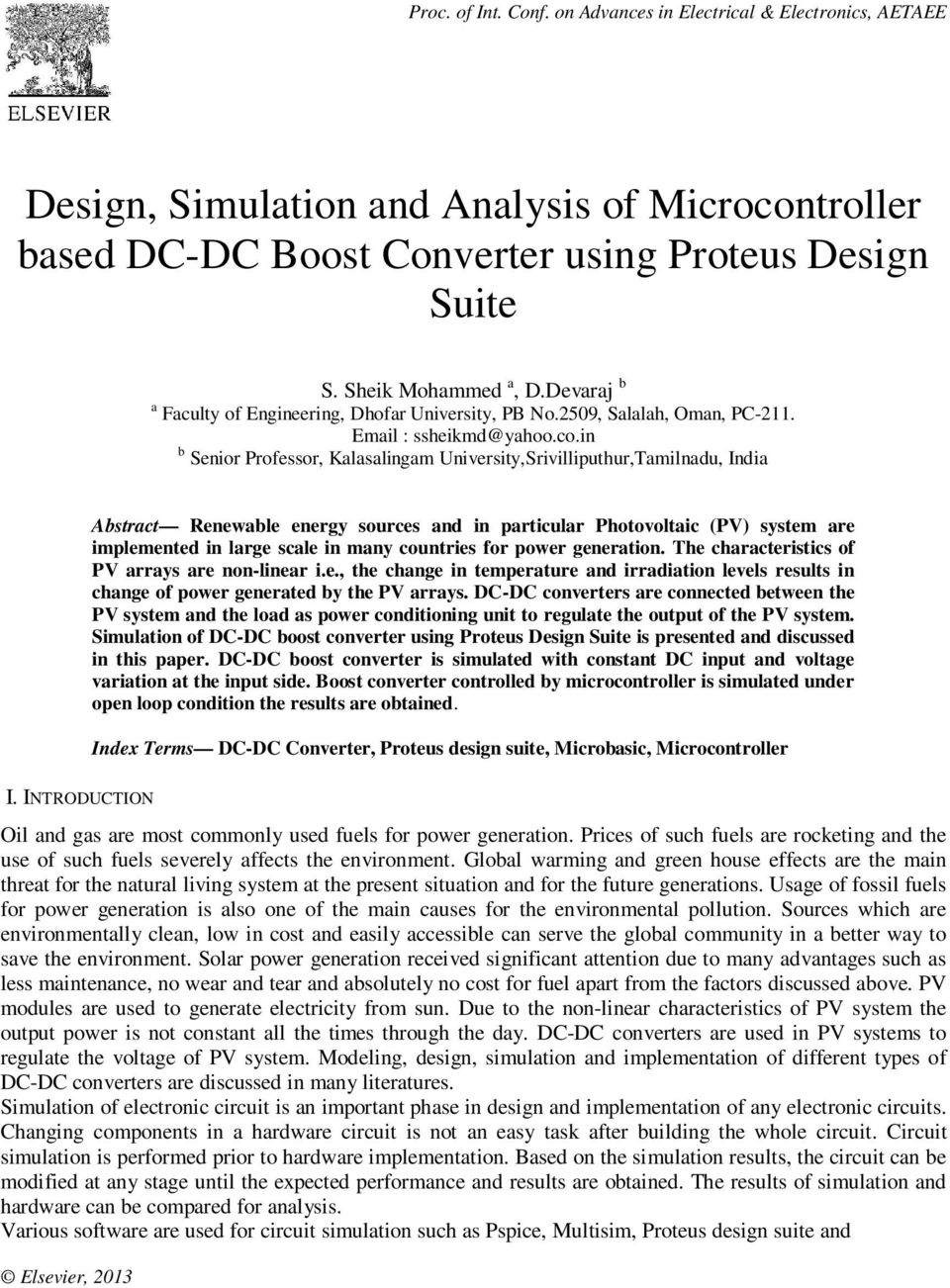 Design Simulation And Analysis Of Microcontroller Based Dc Boost Proteus The Complete Electronics System In B Senior Professor Kalasalingam Universitysrivilliputhurtamilnadu India Abstract Renewable Energy