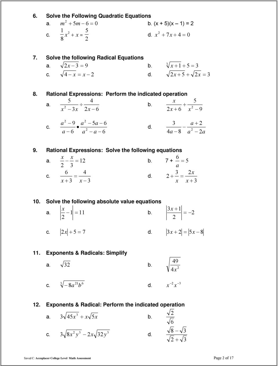 TSI College Level Math Practice Test - PDF