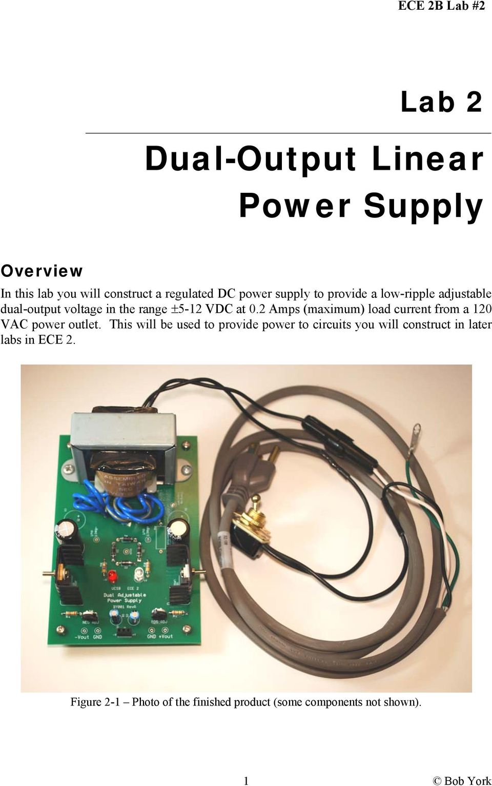 Dual Output Linear Power Supply Pdf Adjustable 12 30v 5a Using Lm338 2 Amps Maximum Load Current From A 120 Vac Outlet