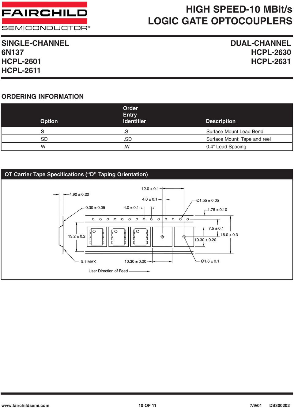 W.4 Lead Spacing QT Carrier Tape Specifications ( D Taping Orientation) 4.9 ±.. ±.5 4.