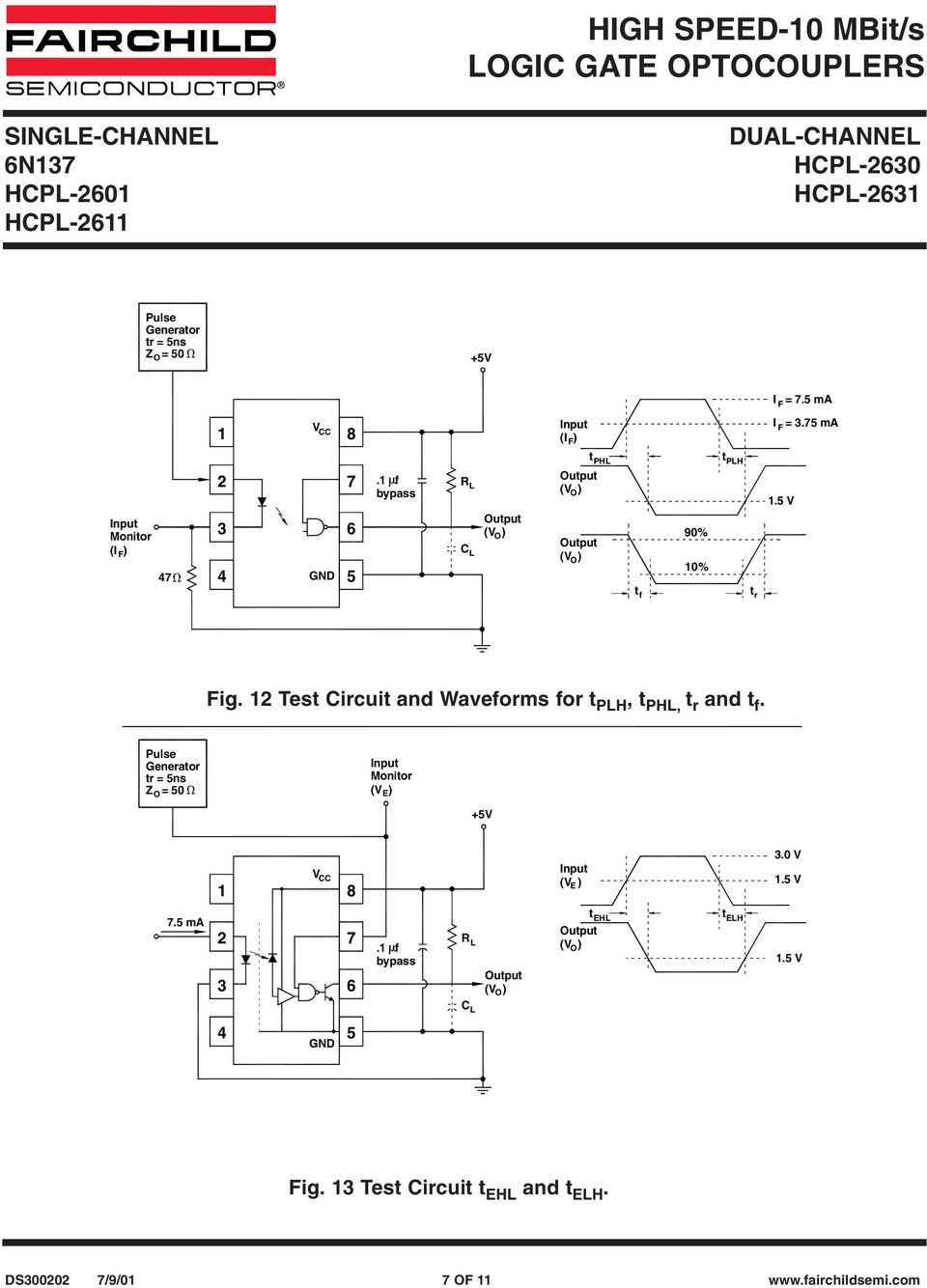 Test Circuit and Waveforms for t PLH, t PHL, t r and t f.
