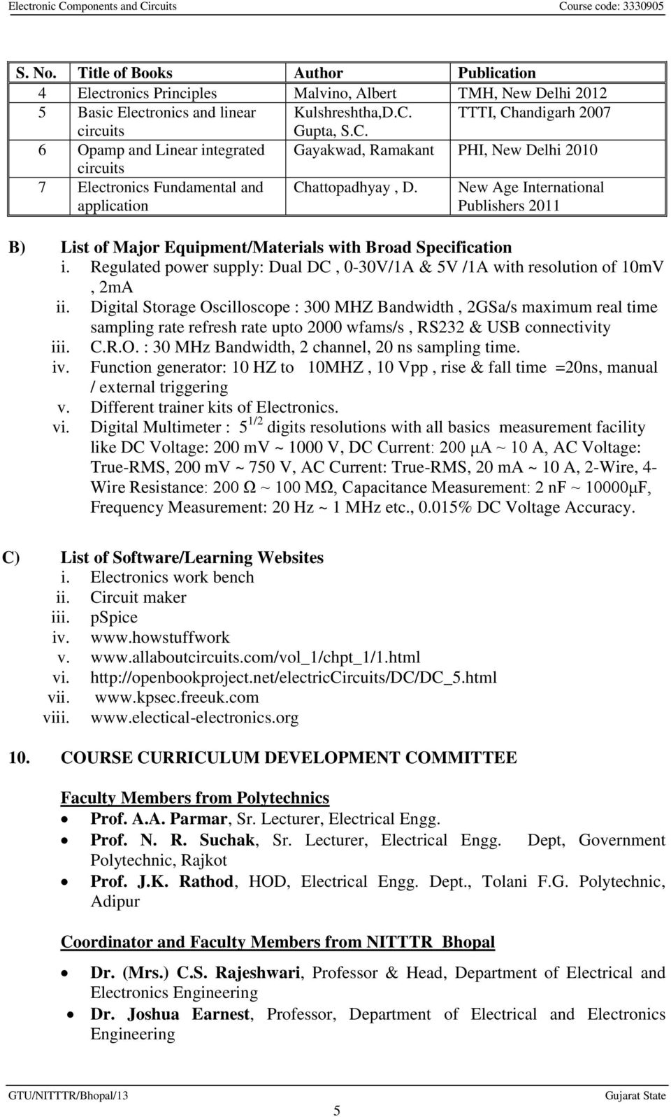 Gujarat Technological University Ahmedabad Course Electronic Circuit Componnent Data Lesson And Etc Usb Power New Age International Publishers 2011 B List Of Major Equipment Materials With Broad Specification