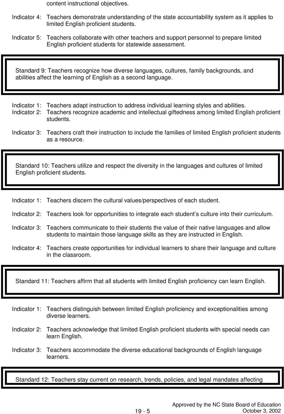 Standard 9: Teachers recognize how diverse languages, cultures, family backgrounds, and abilities affect the learning of English as a second language.