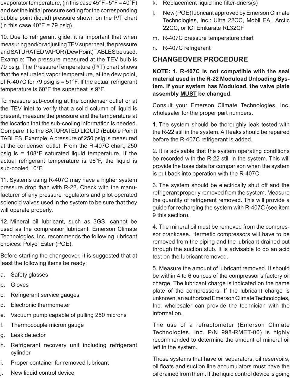 Refrigerant Changeover Guidelines R-22 to R-407C  Leading