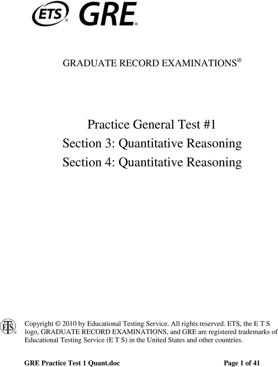 Practice General Test #1 Section 3: Quantitative Reasoning
