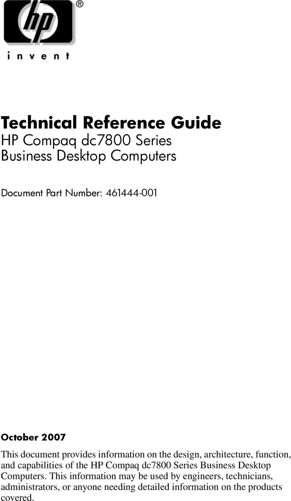 Technical Reference Guide HP Compaq dc7800 Series Business