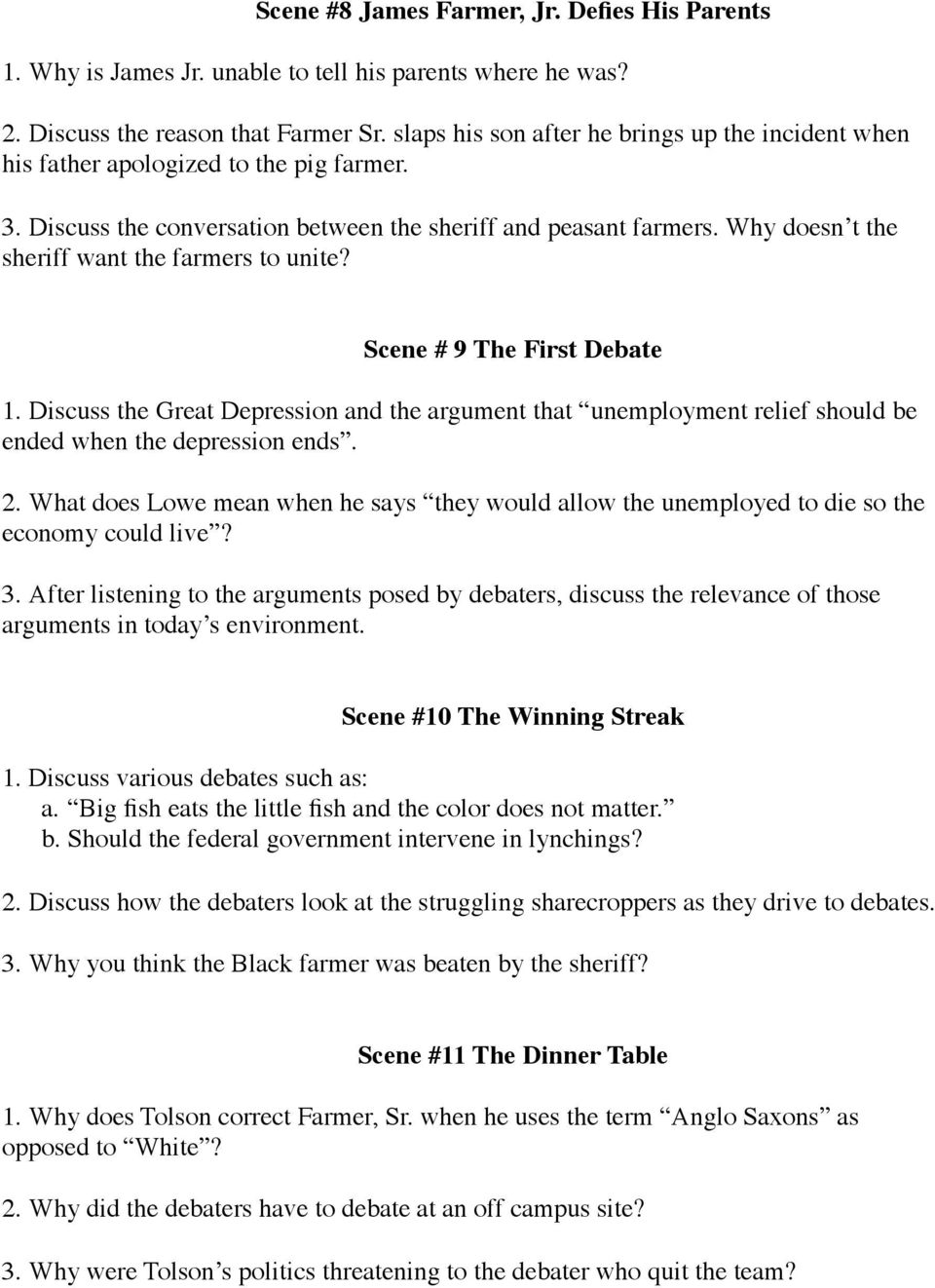 The Great Debaters Question Guide - PDF