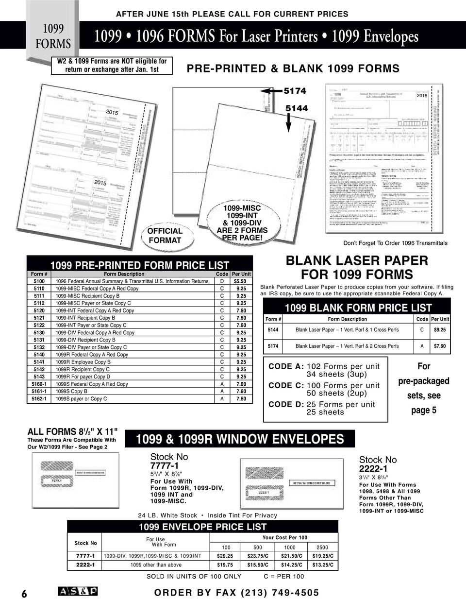 Specializing In Tax Supplies W 2 1099 Forms Pdf