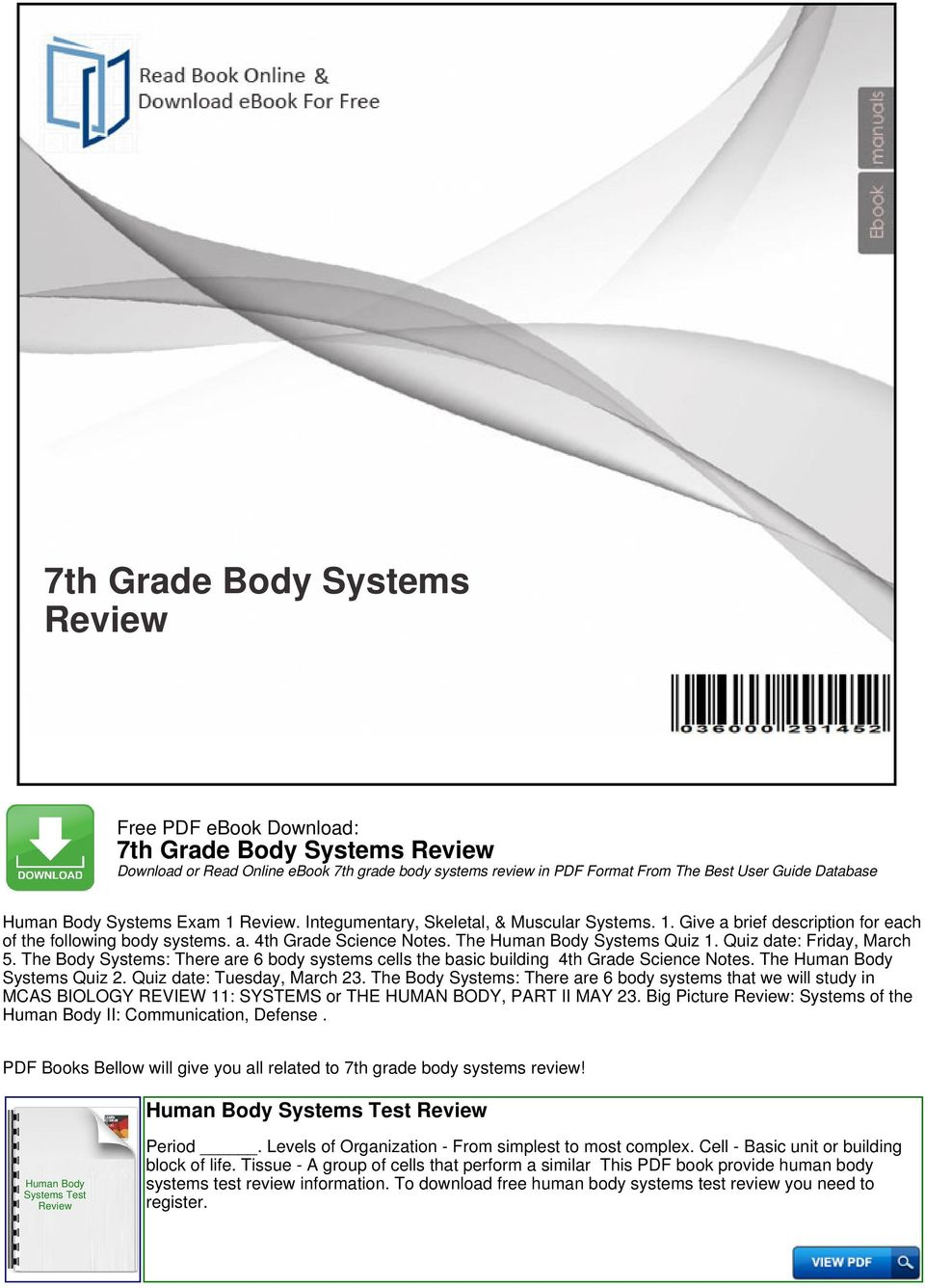 7th Grade Body Systems Review - PDF