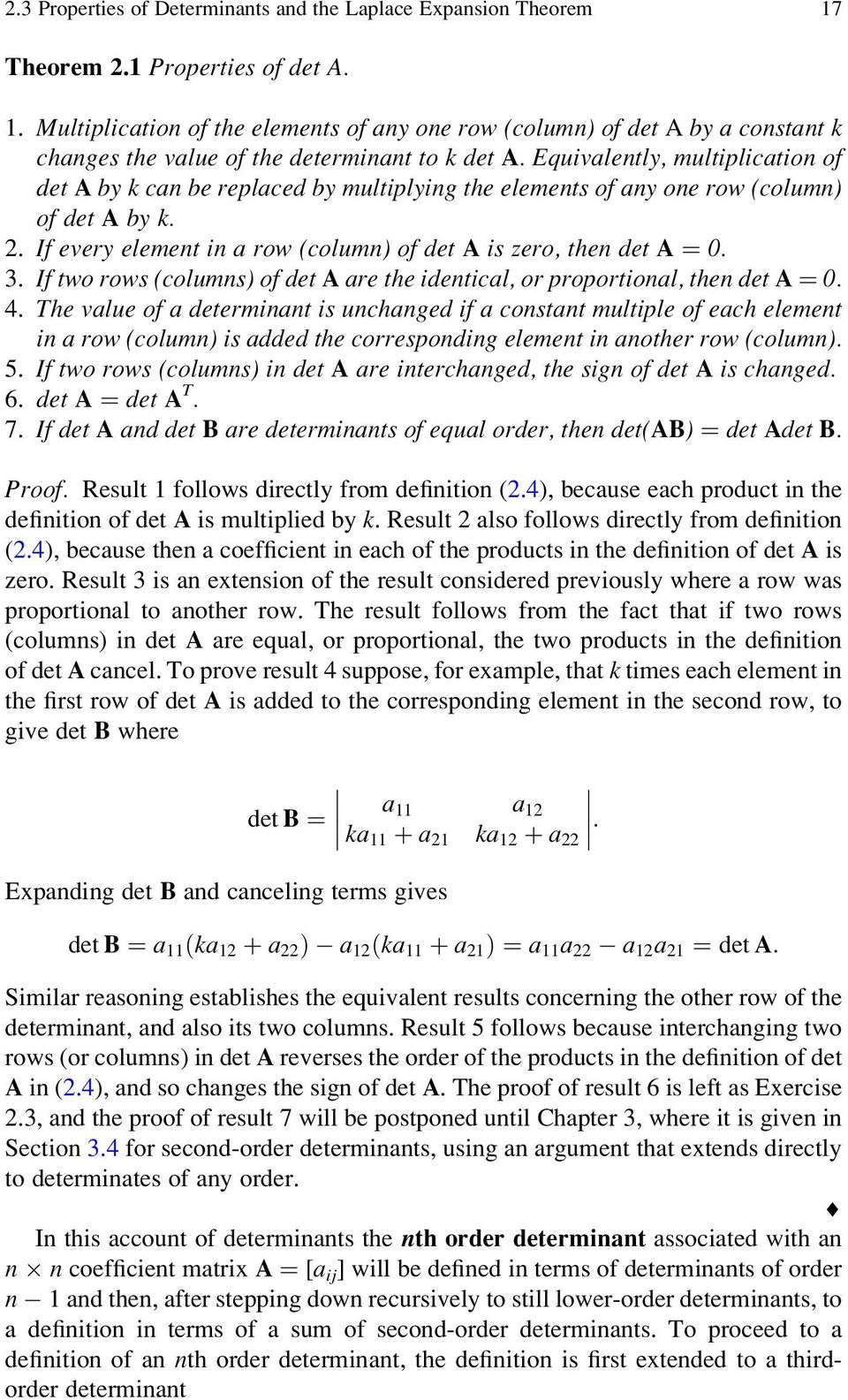 Chapter 2 Determinants, and Linear Independence - PDF