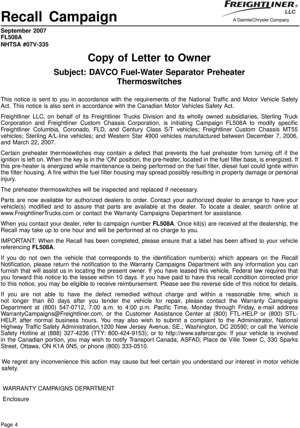 Subject Davco Fuel Water Separator Preheater Thermoswitches Pdf 2006 Freightliner Century Filter Llc On Behalf Of Its Trucks Division And Wholly Owned Subsidiaries