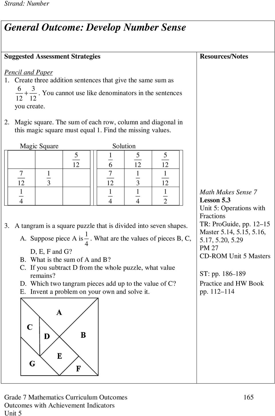 Grade 7 Mathematics  Unit 5  Operations with Fractions  Estimated
