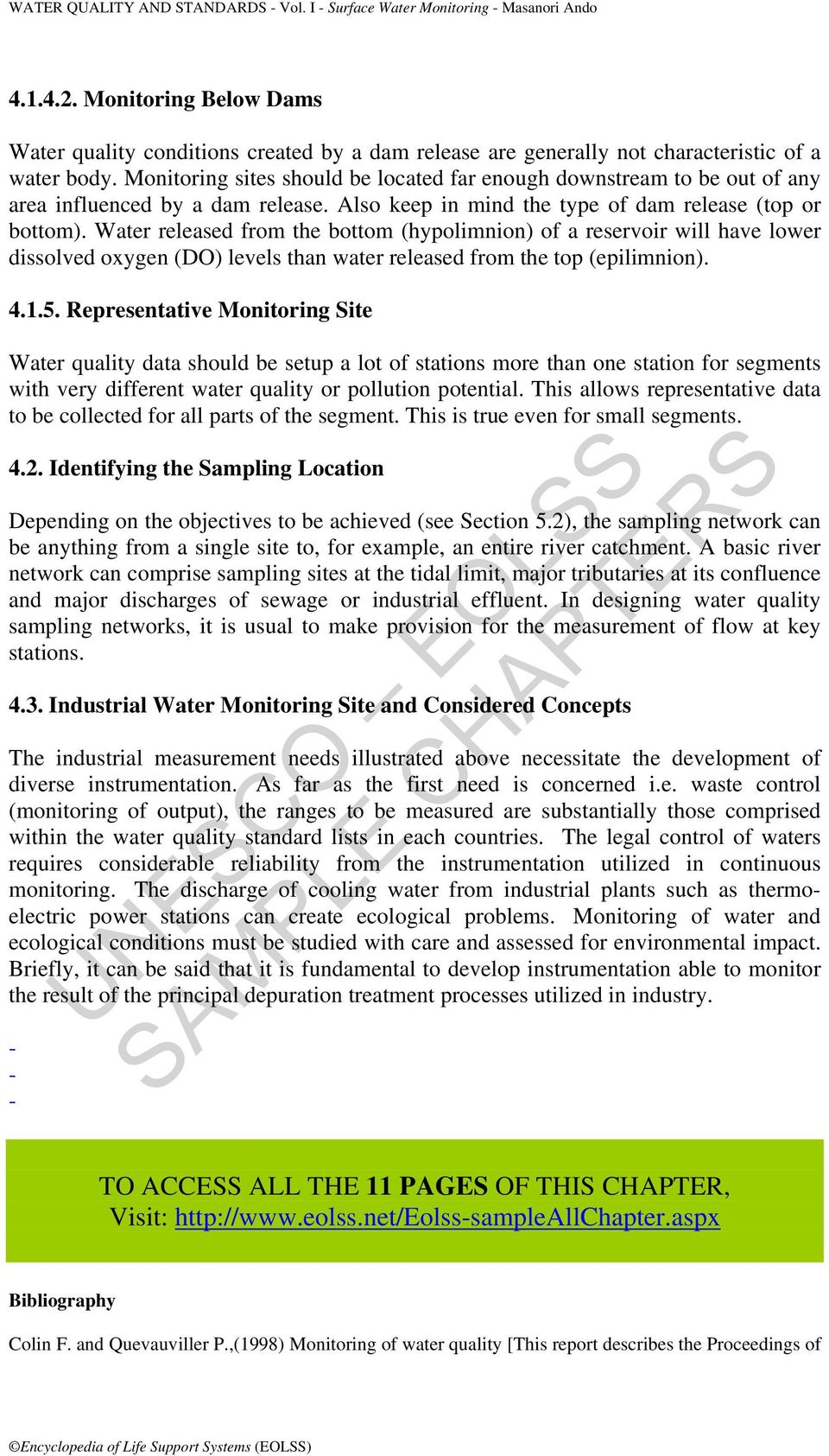 SAMPLE CHAPTERS UNESCO EOLSS SURFACE WATER MONITORING  Masanori Ando