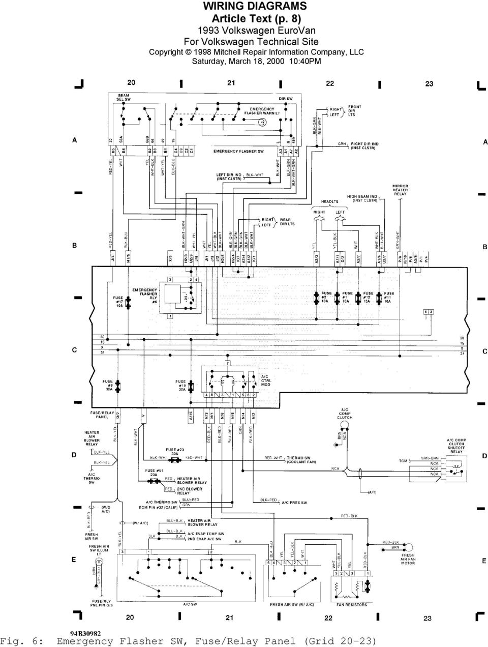 1993 Wiring Diagrams Volkswagen Eurovan 1990 Subaru Heater 6 Emergency
