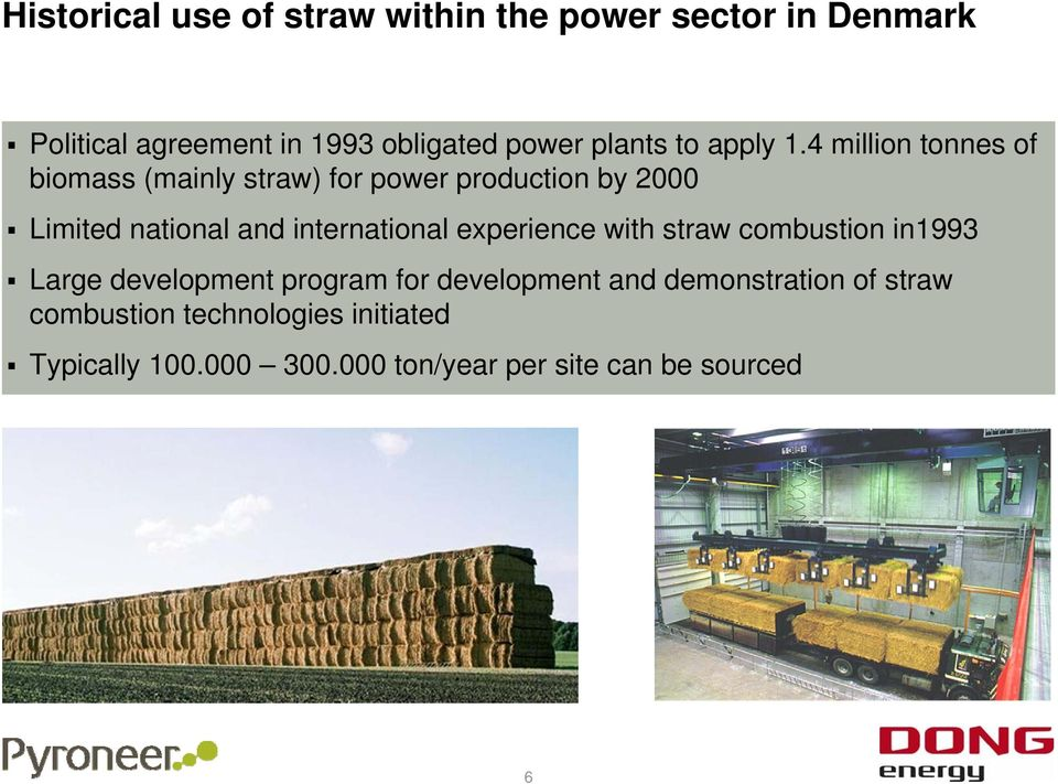 4 million tonnes of biomass (mainly straw) for power production by 2000 Limited national and international