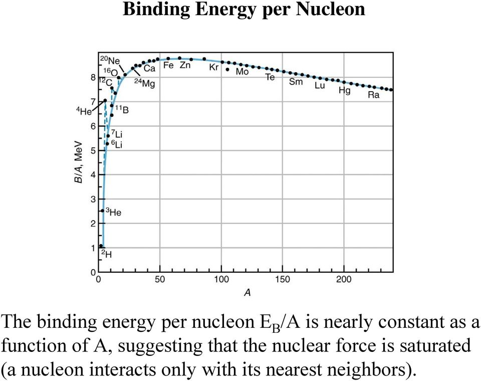 A, suggesting that the nuclear force is saturated
