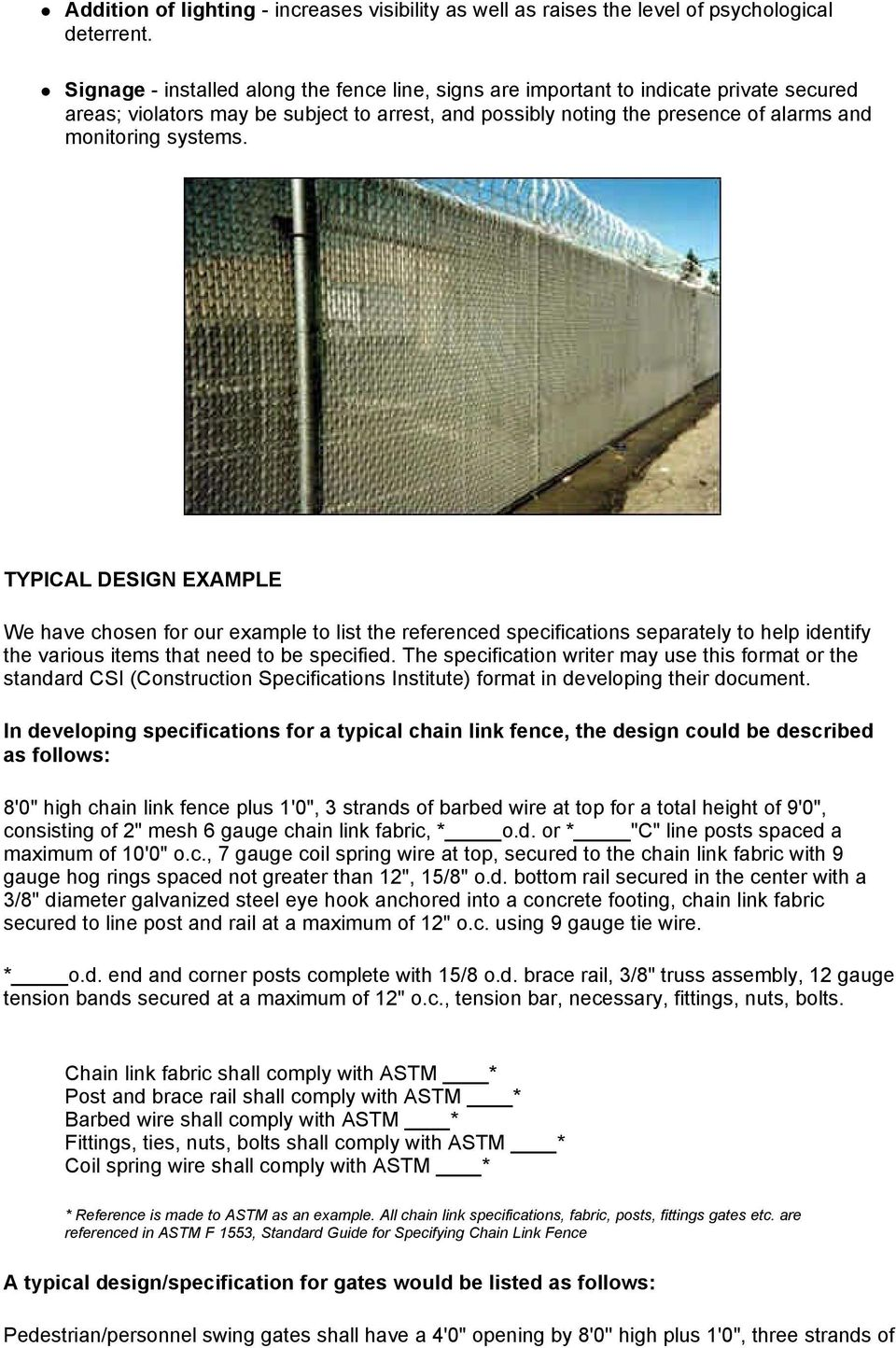 Chain Link Fence Manufacturers Institute Security Fencing