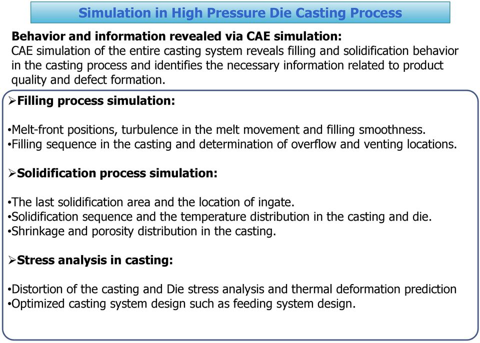 RESEARCH PROJECT  High Pressure Die Casting Defects and