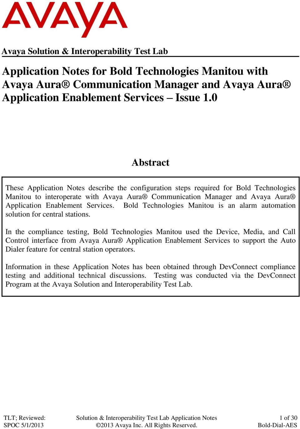 Application Notes for Bold Technologies Manitou with Avaya Aura
