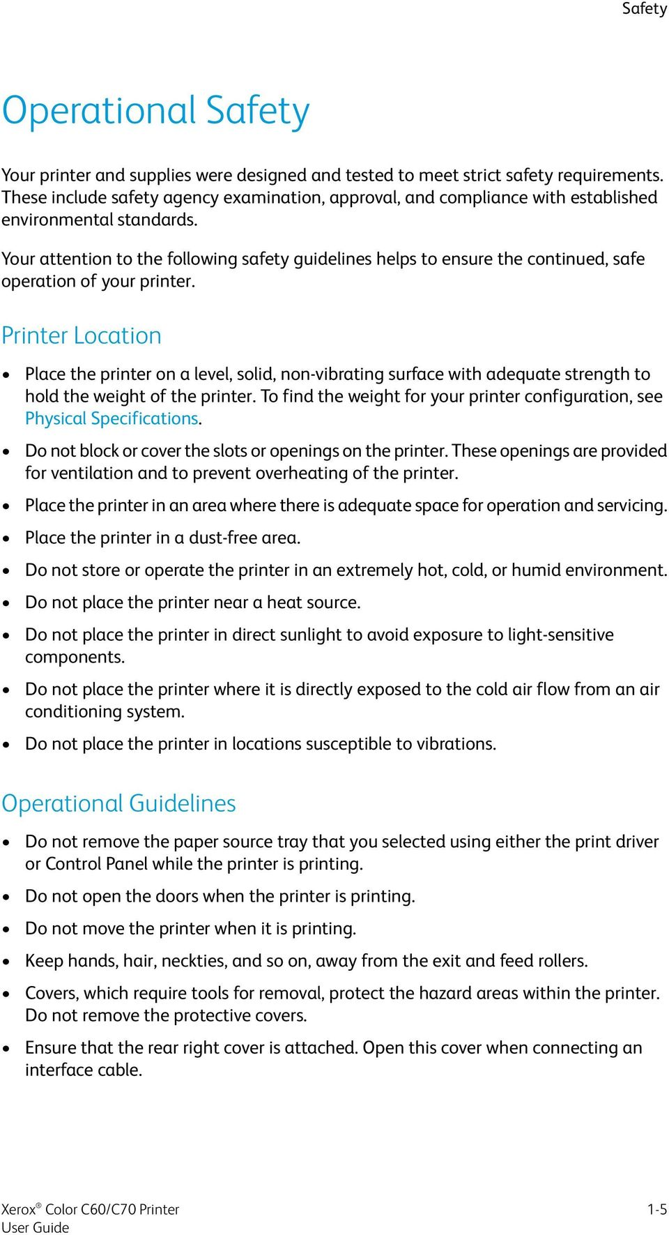 Software Version 1 0  Xerox Color C60/C70 Printer User Guide