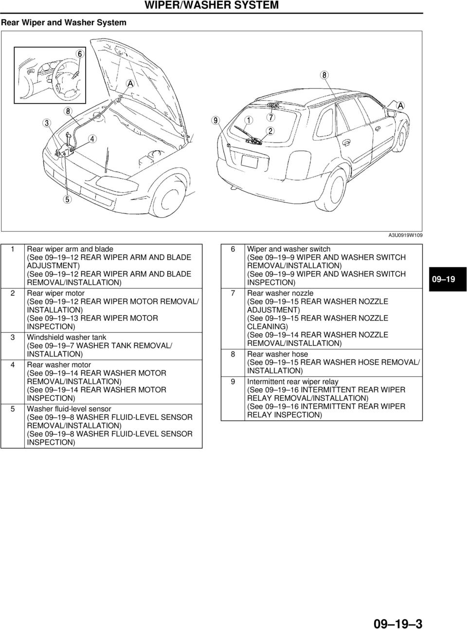 09 19 Wiper Washer System Pdf How To Wire 3 Way Light Switch Wiring Diagram 400 Watt Motor 5 Fluid Level Sensor See 8