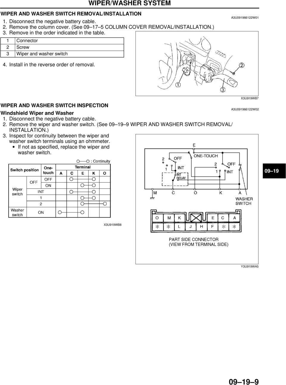 09 19 Wiper Washer System Pdf Vw Motor Wiring Diagram Repalcement Parts And Switch Inspection Windshield 2 Remove The