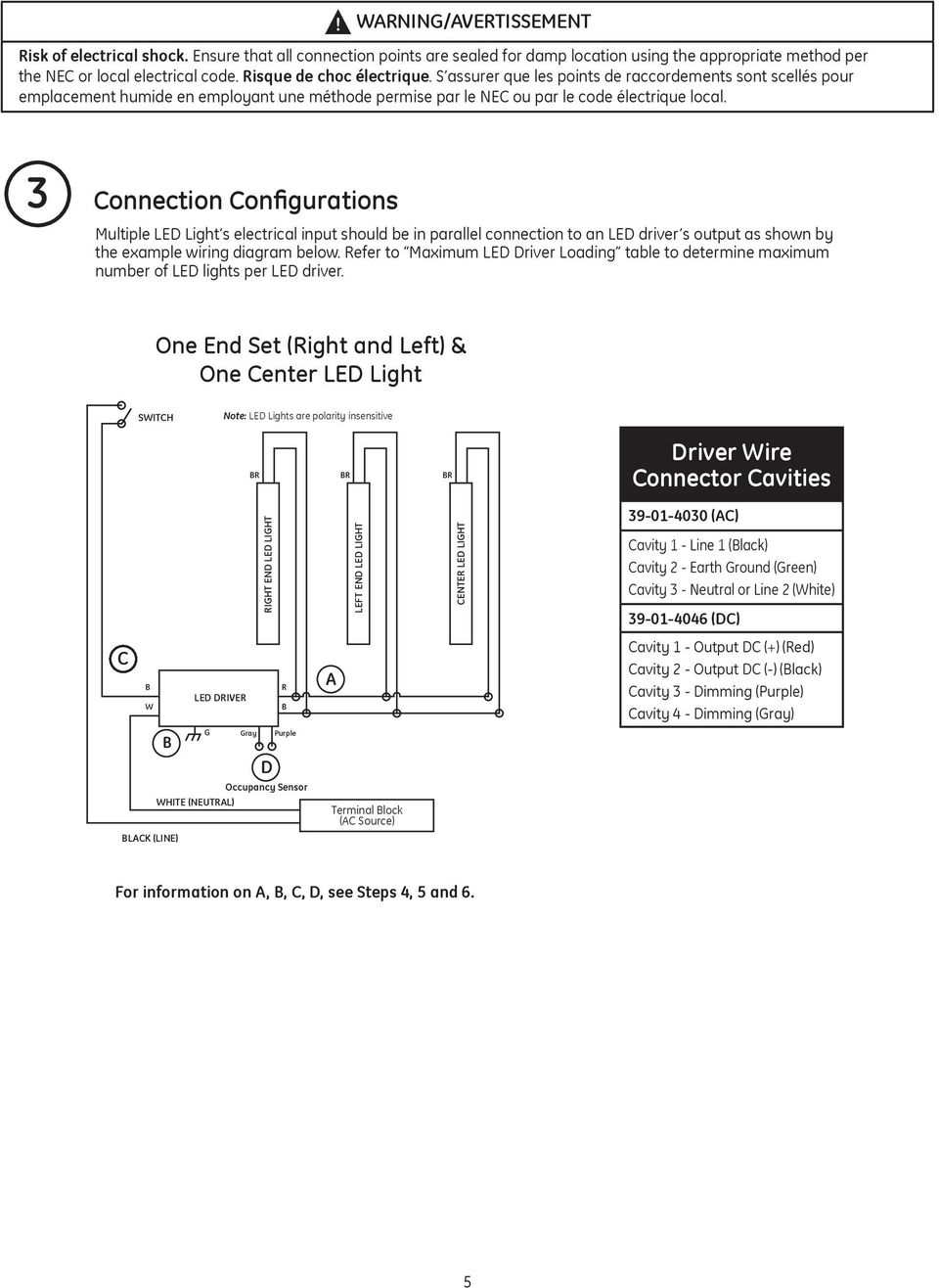 Immersion Tm Ge Lighting Oem Installation Guide Led Refrigerated Lights Ac Wiring Diagram Connection Configurations Multiple Light S Electrical Input Should Be In Parallel To An
