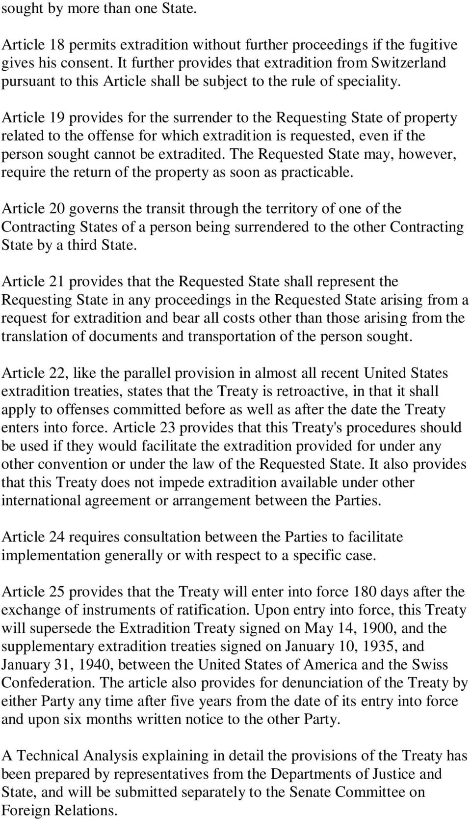 Switzerland International Extradition Treaty with the United States