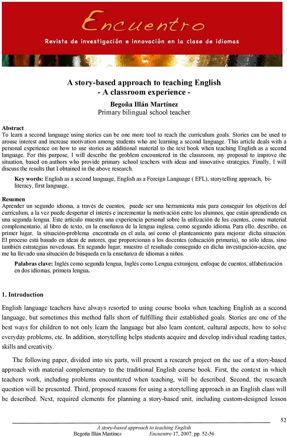 A story-based approach to teaching English  - A classroom