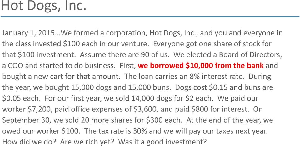 The loan carries an 8% interest rate. During the year, we bought 15,000 dogs and 15,000 buns. Dogs cost $0.15 and buns are $0.05 each. For our first year, we sold 14,000 dogs for $2 each.