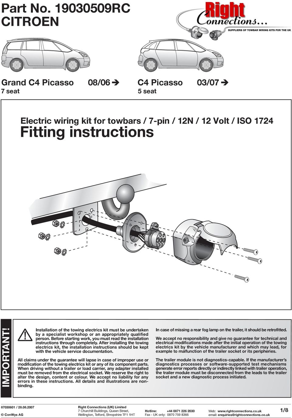 Fitting Instructions Part No Rc Citroen Important Grand C4 Picasso Wiring Diagrams Before Starting Work You Must Read The Installation Through Completely