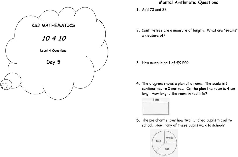 Day 1 Mental Arithmetic Questions Ks3 Mathematics Pdf