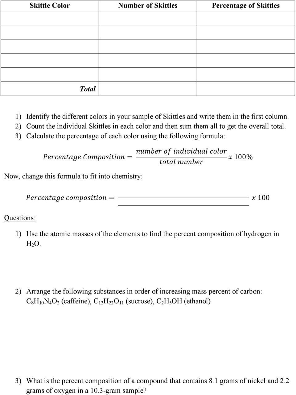 Worksheets Percent Composition By Mass Worksheet atomic massmolar mass percent composition empirical and 3 calculate the percentage of each color using following formula 100