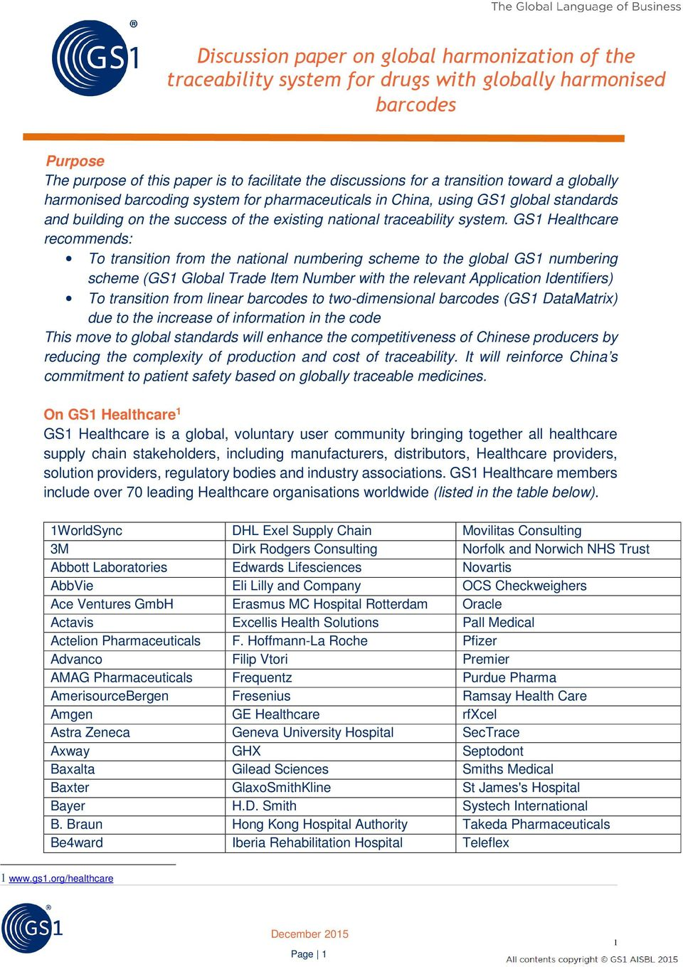 Discussion paper on global harmonization of the traceability system