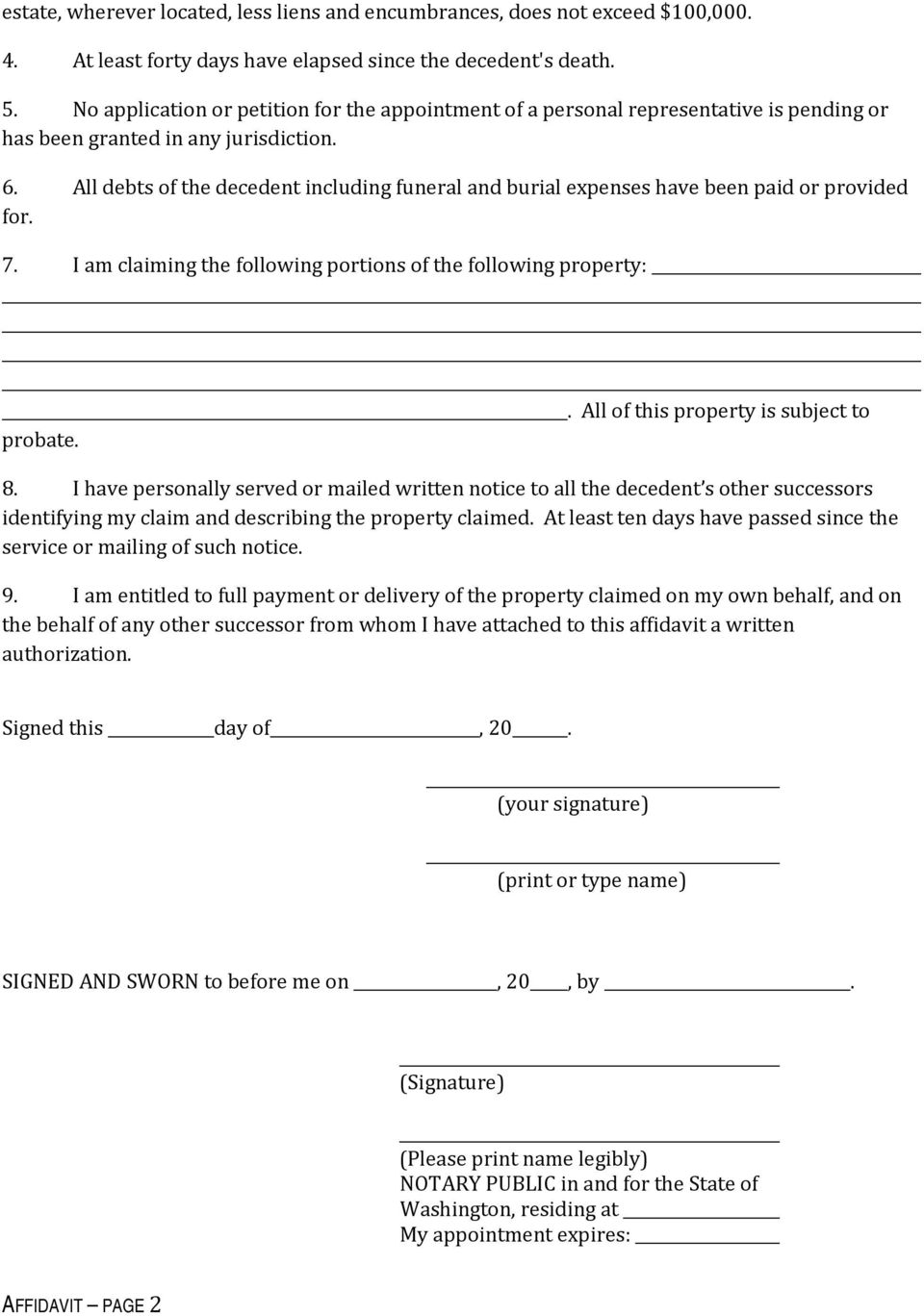 How to claim the personal property of someone who has died do it all debts of the decedent including funeral and burial expenses have been paid or provided for solutioingenieria Image collections