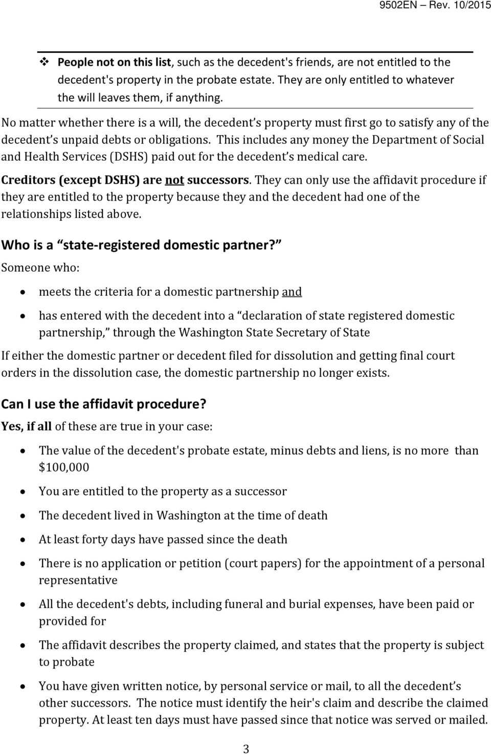 How to claim the personal property of someone who has died do it this includes any money the department of social and health services dshs paid out solutioingenieria Image collections