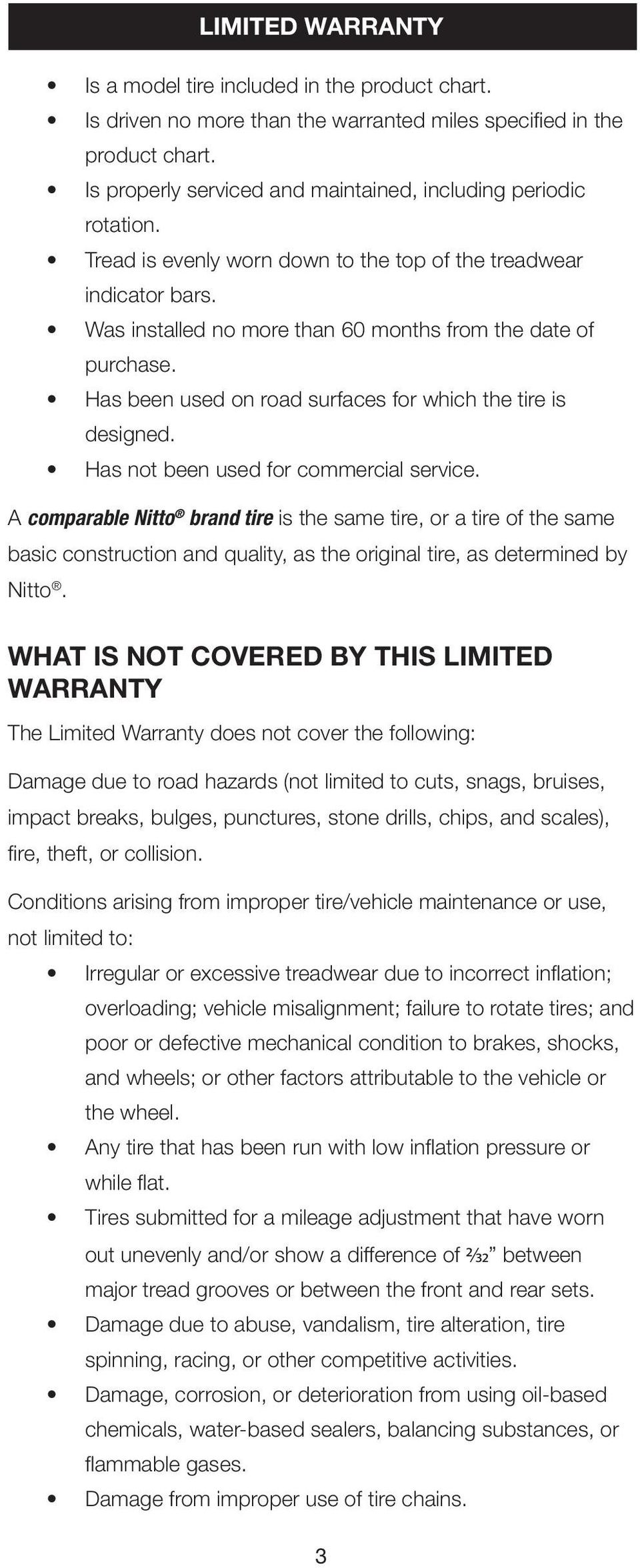 Summary Of Limited Warranty Coverage By Tread Design Pdf Rotation Diagrams For Vehicles With Samesize Nondirectional Tires Has Been Used On Road Surfaces Which The Tire Is Designed Not