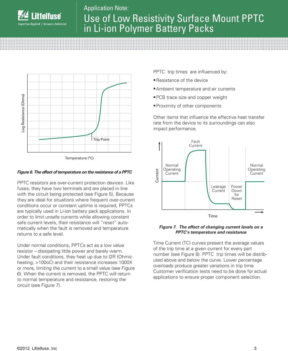 Application Note Use Of Low Resistivity Surface Mount Pptc In Li Anlittlefusecircuitprotectionliionlipoly The Effect Temperature On Resistance A Resistors Are Over Current