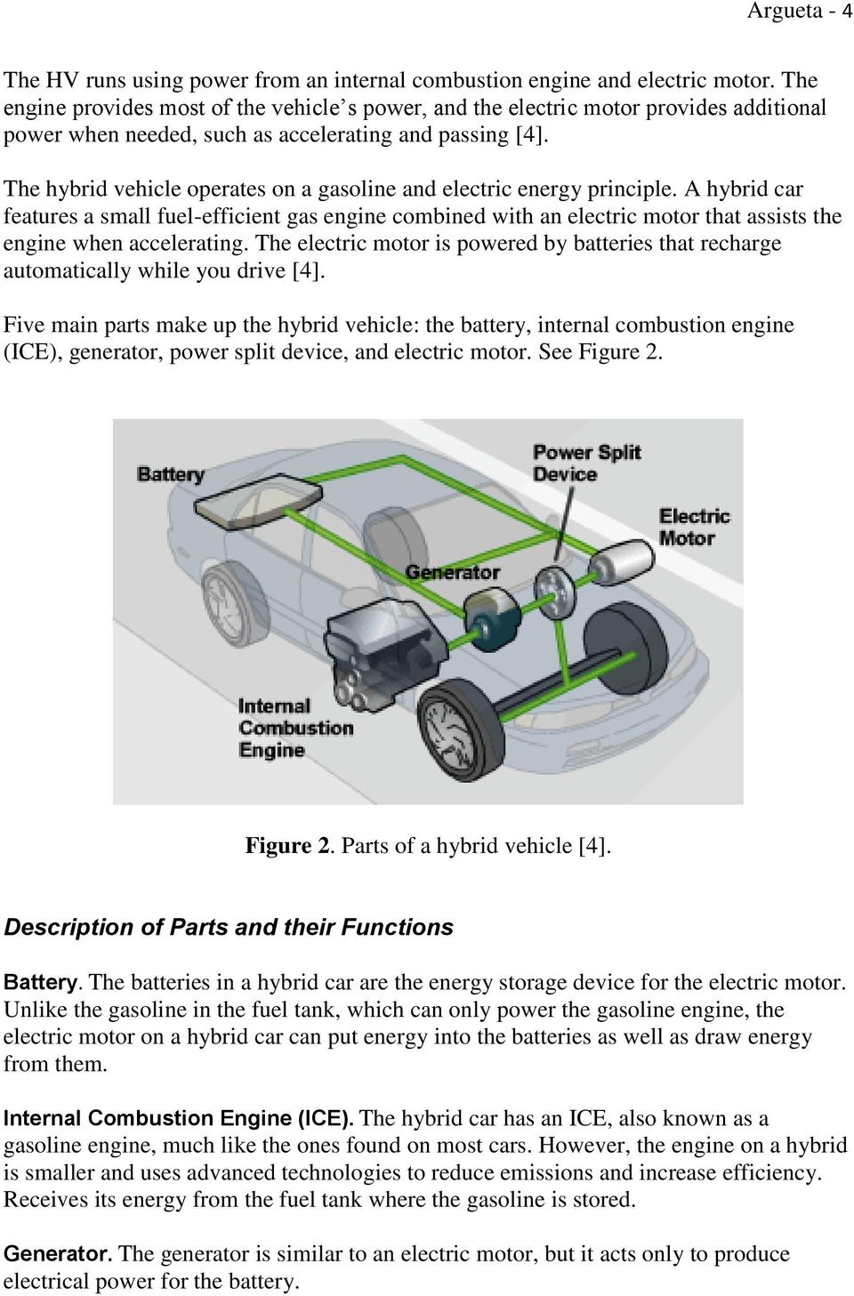The hybrid vehicle operates on a gasoline and electric energy principle.