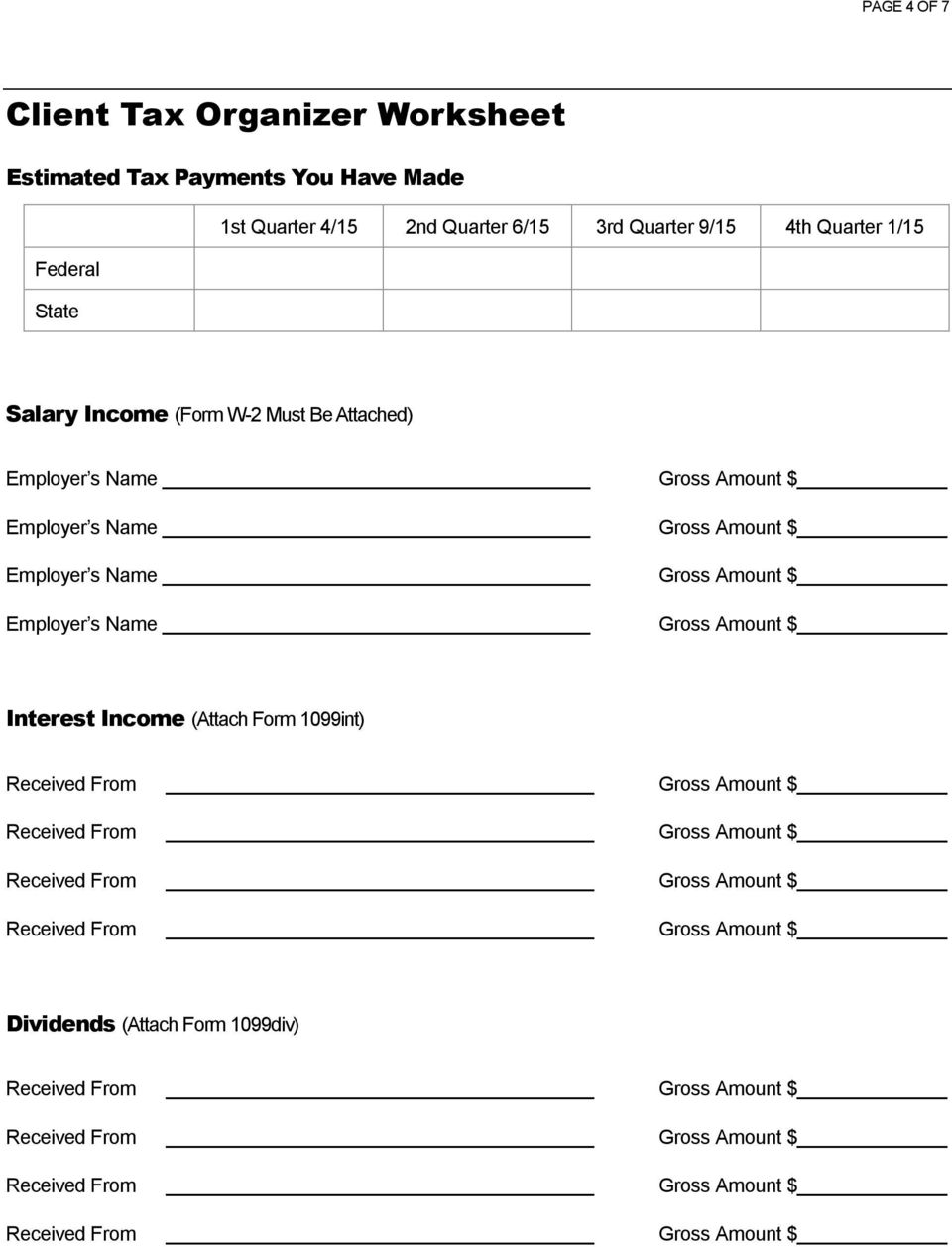 Client Tax Organizer Worksheet - PDF