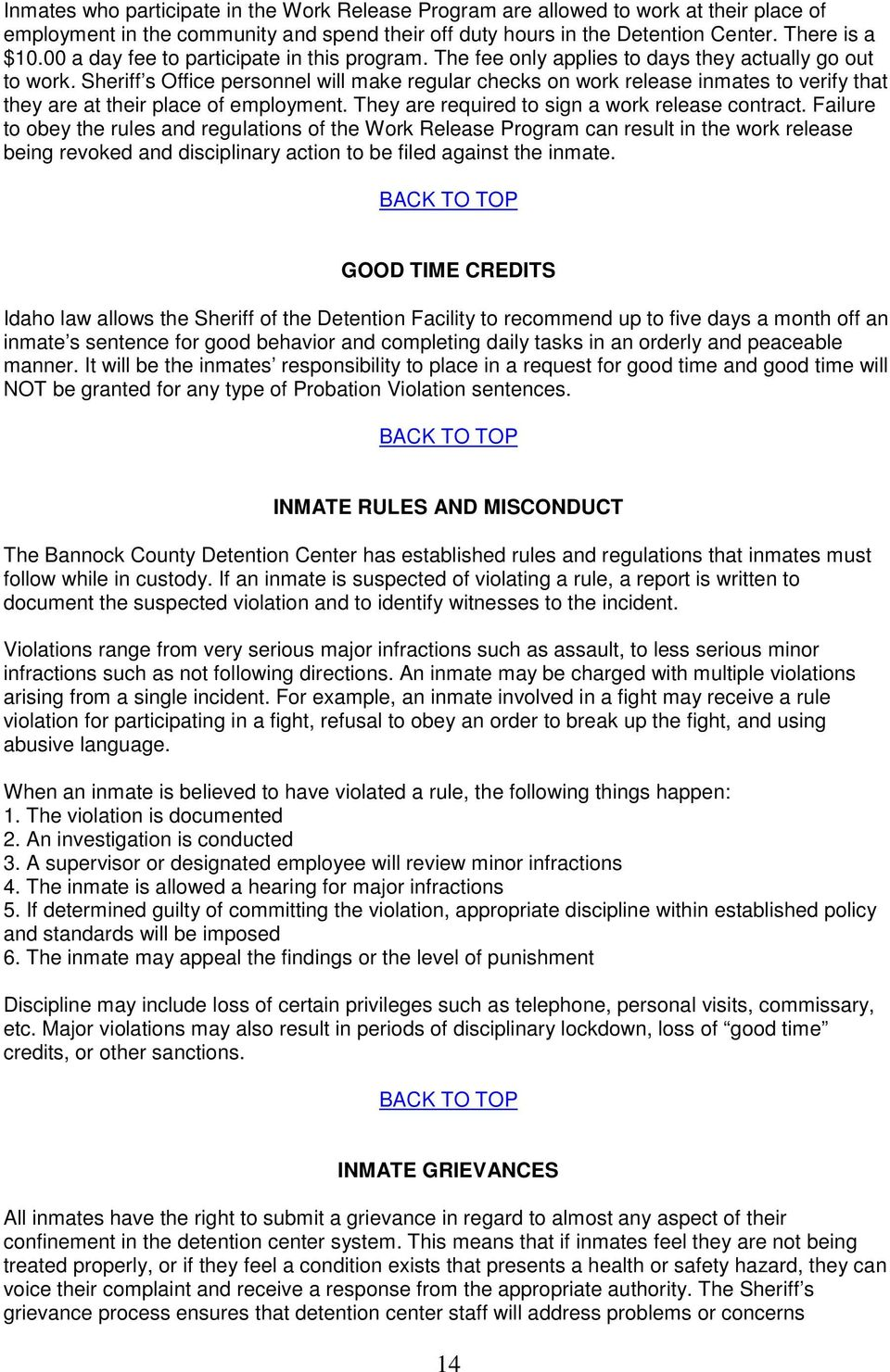 BANNOCK COUNTY DETENTION CENTER ORIENTATION HANDBOOK A
