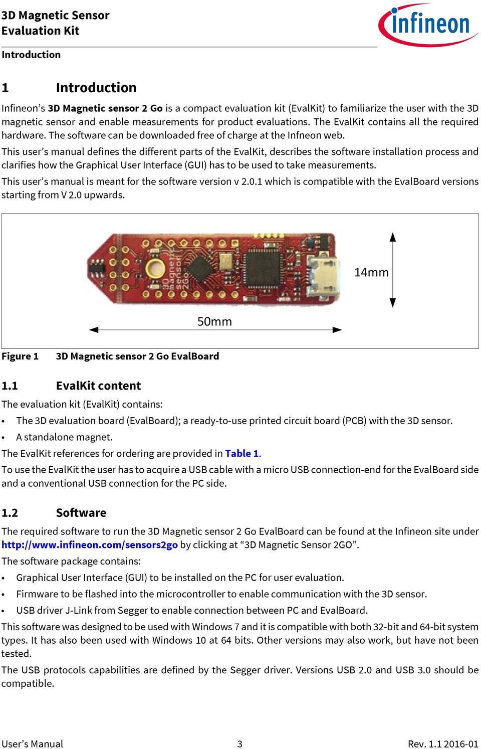 Evaluation Kit 3d Magnetic Sensor 2 Go User S Manual For Printed Circuit Board 01 This Defines The Different Parts Of Evalkit Describes Software Installation