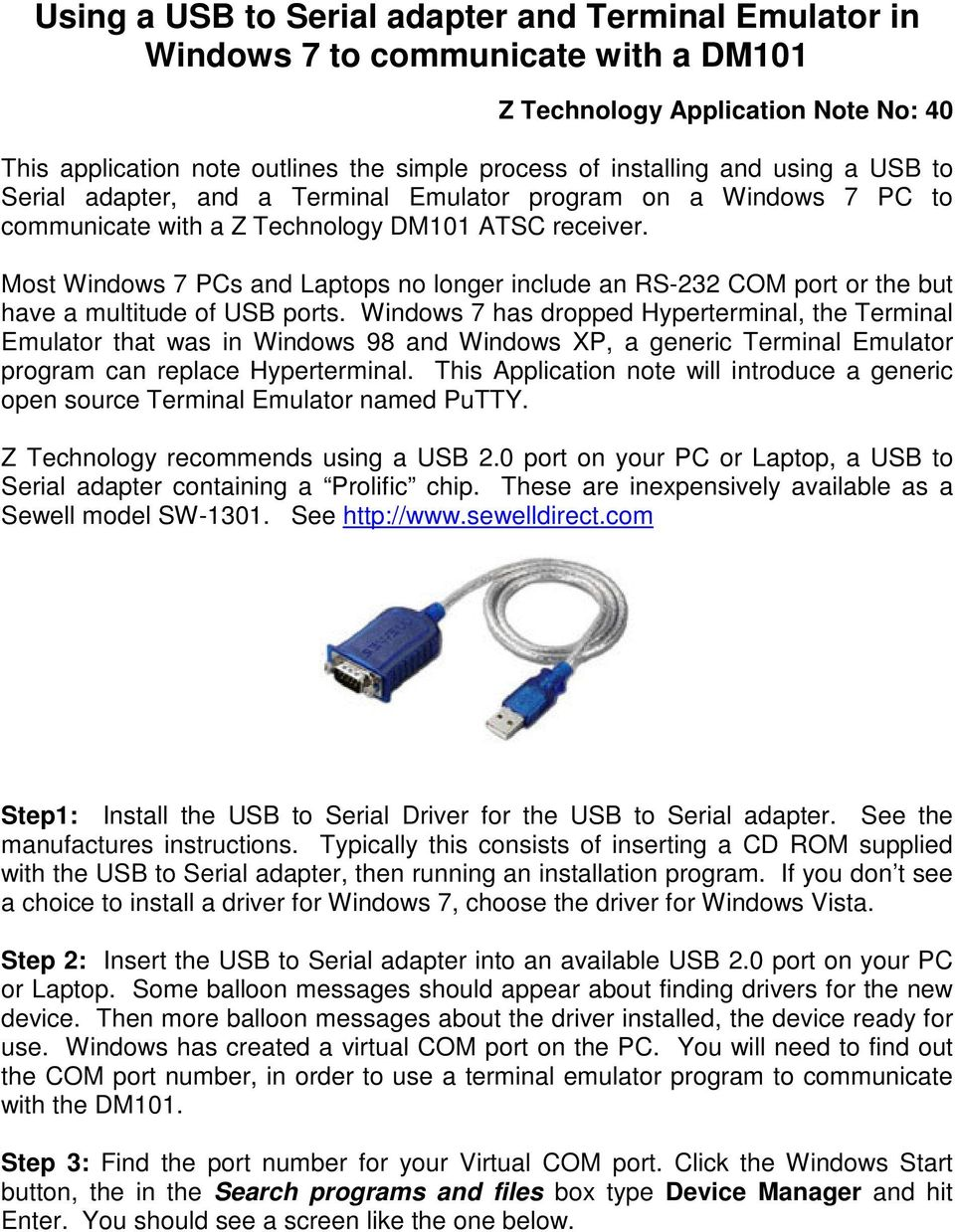 Using a USB to Serial adapter and Terminal Emulator in