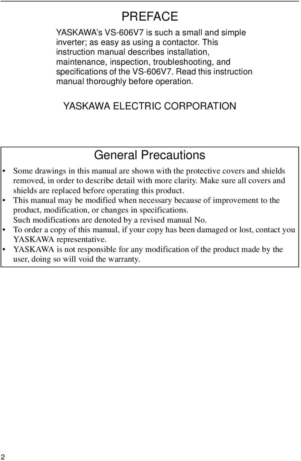 Vs 606v7 Series Instruction Manual Compact General Purpose Inverter Yaskawa Vfd Wiring Diagrams Electric Corporation Precautions Some Drawings In This Are Shown With The Protective Covers