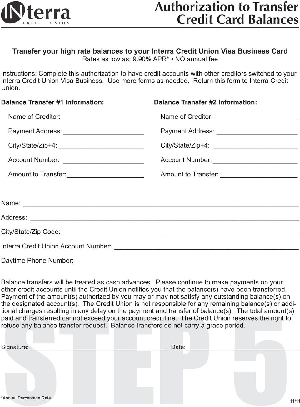 Return this form to Interra Credit Union.