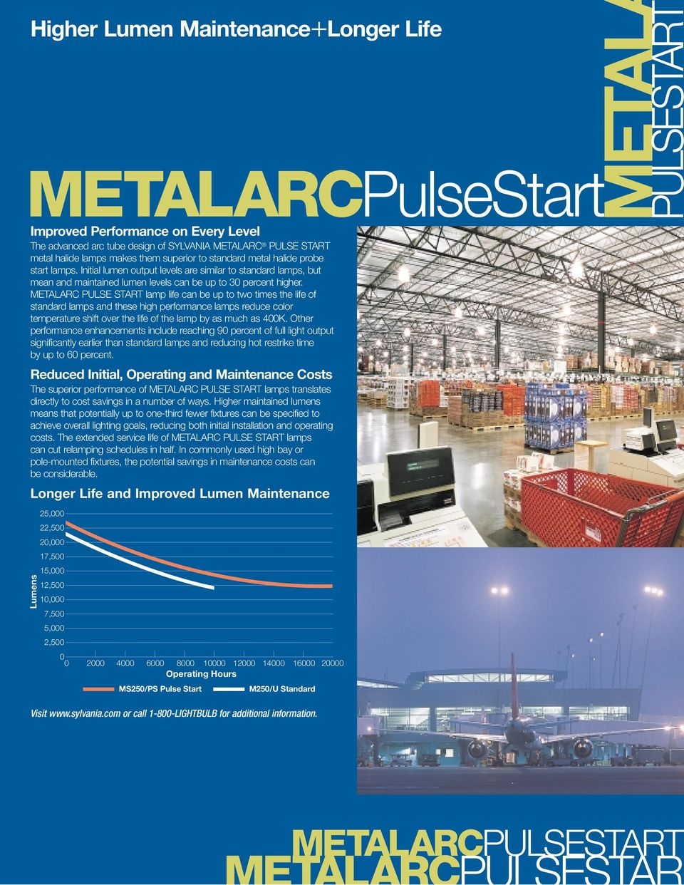 METALARC PULSE START lamp life can be up to two times the life of standard lamps and these high performance lamps reduce color temperature shift over the life of the lamp by as much as 400K.