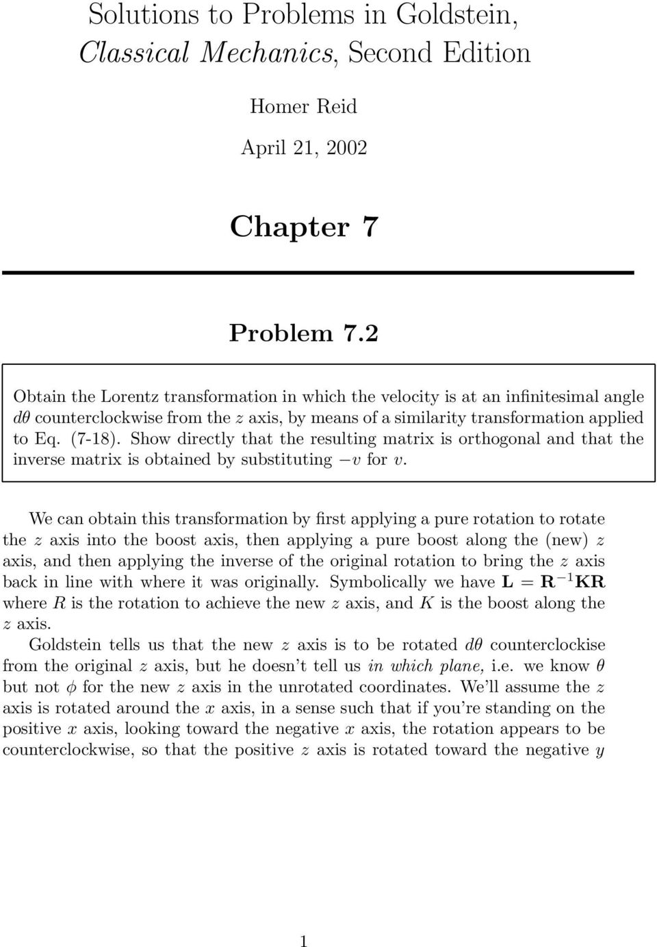 Solutions to Problems in Goldstein, Classical Mechanics, Second