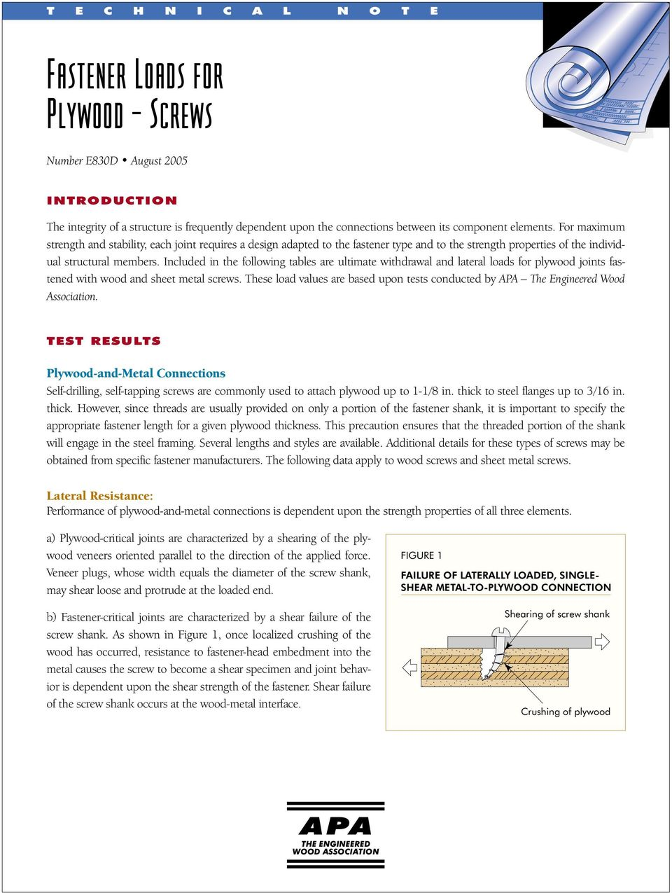 Fastener Loads for Plywood Screws Number E830D August PDF